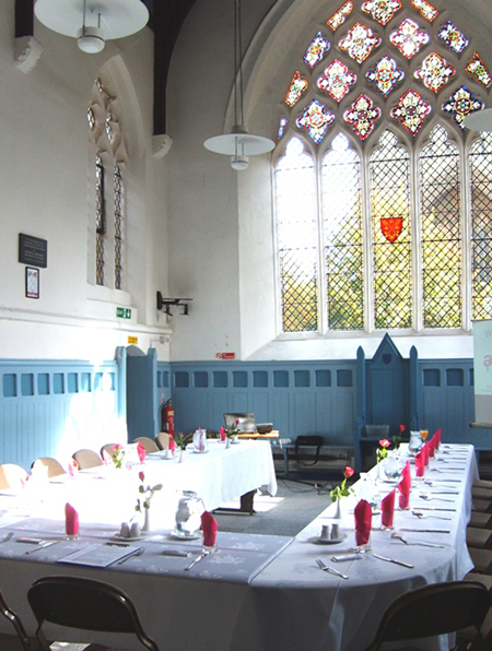 Dining in the Becket Chapel, with the East Window view towards the Cathedral