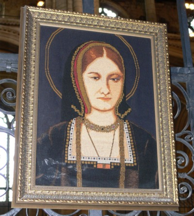 Katharine of Aragon's picture, hanging above her tomb in Peterborough Cathedral.