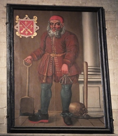 A portrait of Old Scarlett, the Cathedral gravedigger in Tudor times