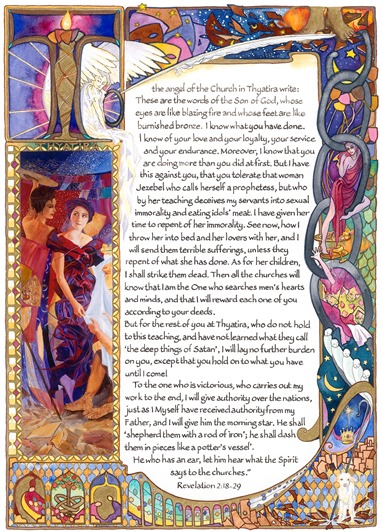 A page from Annelies Clarke's illustration of the Book of Revelation.