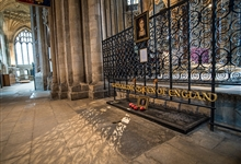 The resting place of Katherine of Aragon, first wife of Henry VIII. The original tomb was destroyed in 1643 during the Civil War
