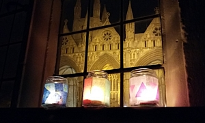 Tea light lanterns in front of Peterborough Cathedral
