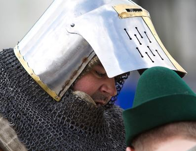 Close-up of knight in armour
