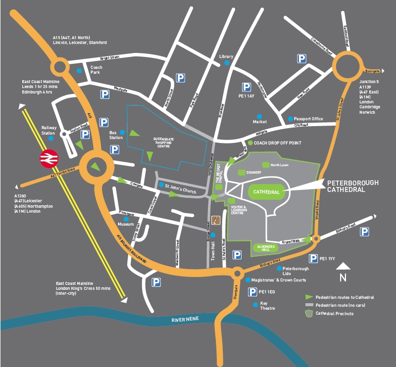 Peterborough Cathedral map showing rail and bus stations. Click for .pdf for printing